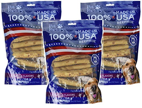 Pet Factory 78117 Assorted Flavored (Beef & Chicken) Chip Rolls 5 Inch 18 Pack. Made in USA (3)