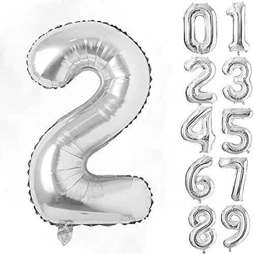 40インチ 数字バルーン シルバー 誕生日バルーン ,数字2アルミ風船 ハッピーバースデー 飾り付け ウェディング 記念日 (2, シルバー)