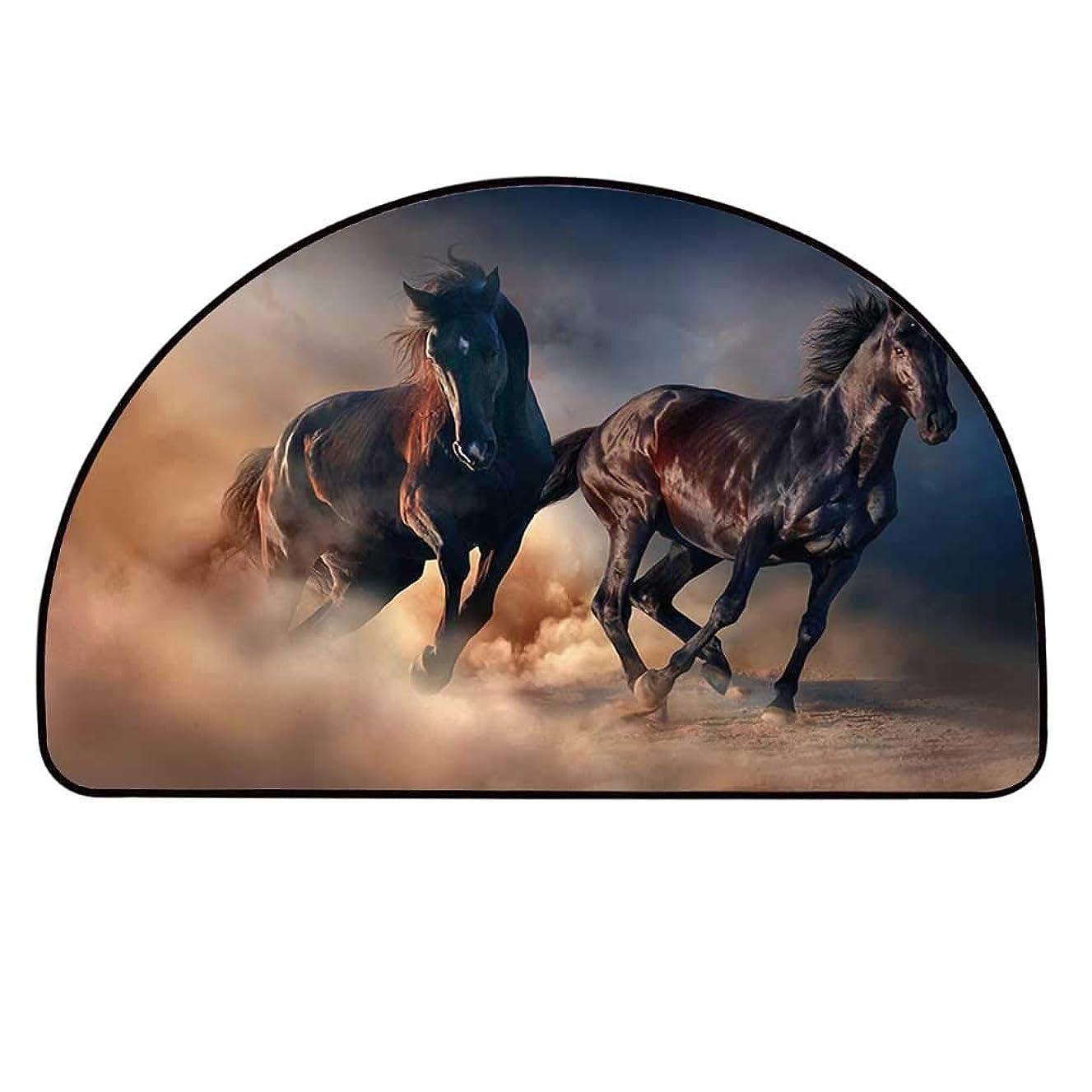 YOLIYANA Horse Decor Semicircle Rug,Two Black Stallions Run at Sunset in Desert Dust Equestrian Image Decorative Floor Mat,11.8