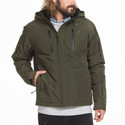 Trek top winterjas heren in groen - STOOB - gevoerde herenjas, weerbestendige ski-jas
