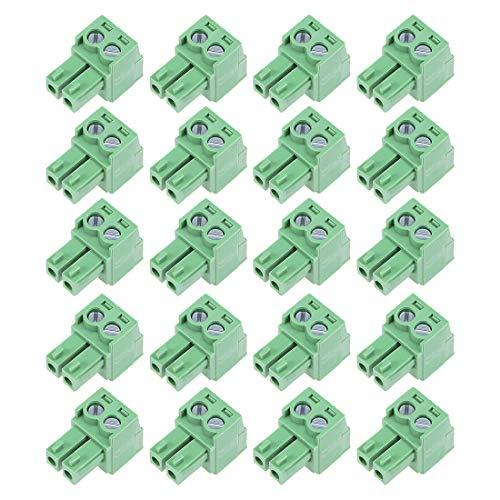 sourcing map 20 Stück AC300V Tonhöhe 2PEinschub PCB Klemmleiste Stecker Grün 10A 3.81mm de