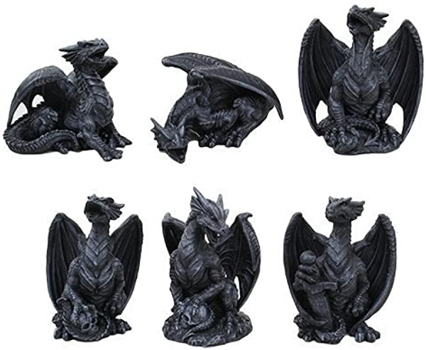 4 Inch Miniature Gargoyle Dragons Statue Figurines Set Of Six
