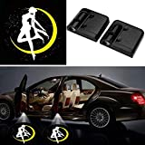 2Pcs Universal Car 3D Wireless Magnetic Car Door Step LED Welcome Logo Shadow Ghost Light Laser Projector Lamp No Drillin (Sailor Moon 2)
