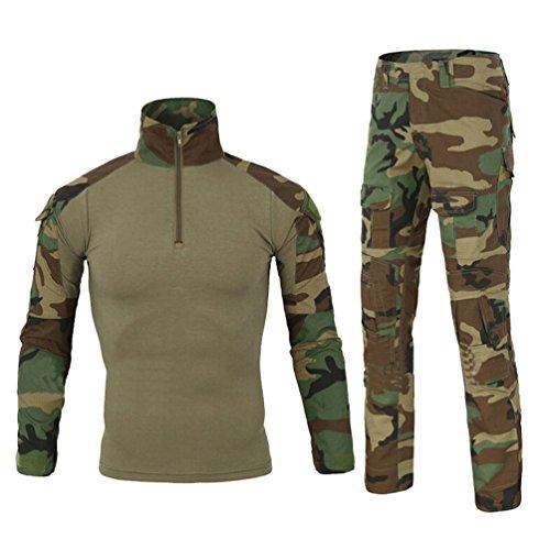 Yuandian Uomo Tattico Camouflage Uniformi 2 Pezzi Set Outdoor Militare Combat Esercito Caccia Pantaloni Traspirante Manica Lunga Zipper Collar T Shirt Maglietta Abbigliamento Mimetico Jungle Camo L