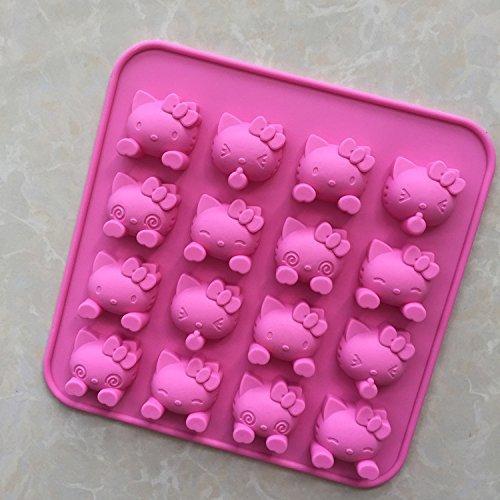 16 Cavities Hello Kitty G126 Molde de silicona para hornear tartas, magdalenas, moldes de jabón hechos a mano para galletas, chocolate, cubitos de hielo