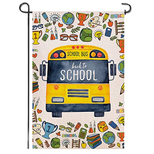 Shmbada Welcome Back to School Burlap Garden Flag, Premium Material Double Sided, School Supplies Yellow Bus Outdoor Yard Lawn Colorful Decorative Banner, Gift for Children 12.5 x 18.5 Inch