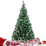 amzdeal Árbol de Navidad Nevado 180CM - Árbol Artificial con 800 Puntas, con Nieve y Piñas, Material PVC Anti-Fuego, Base Metálica, Frondoso y Vívido, Montaje Fácil, Decoración Exterior/Interior