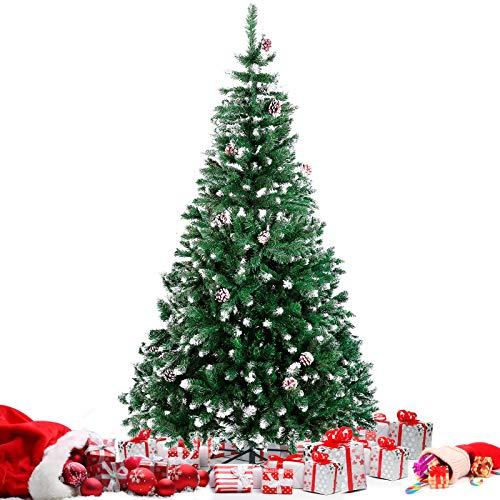 amzdeal 1,8m Sapin de Noël, Arbre de Noël Artificiel à 900 Branches Articulée avec Neige et Pommes de Pins, Socle en Fer, Montage Facile, Décoration Noël pour Maison, Magasin, Bureau, Extérieur