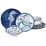 Certified International Oceanic 12 piece Melamine Dinnerware Set, Service for 4, Multi Colored