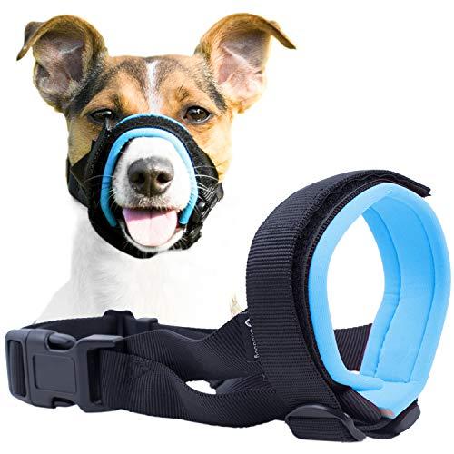 GoodBoy Maulkorb für Hunde - Verhindert Bisse, ungewolltes Kauen - Kein Wundscheuern Mehr (L, Blau)