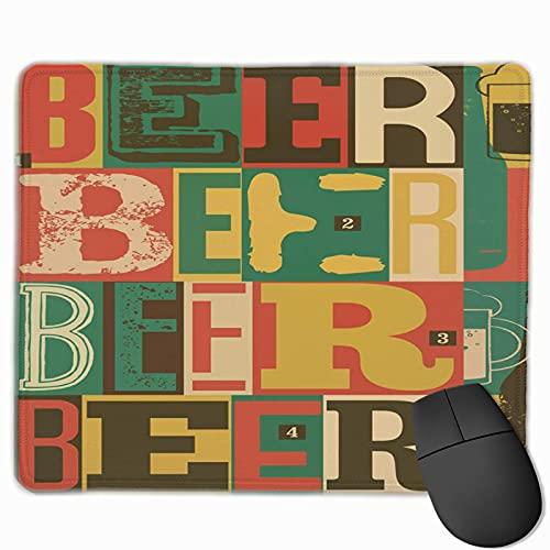 Gaming-Mauspad, Premium-strukturierte Mauspad-Pads, niedliches Mousepad für Spieler, Büro und Zuhause Buntes altes typografisches Vintage-Bier Retro-Alkohol-Getränk-Zusammenfassung