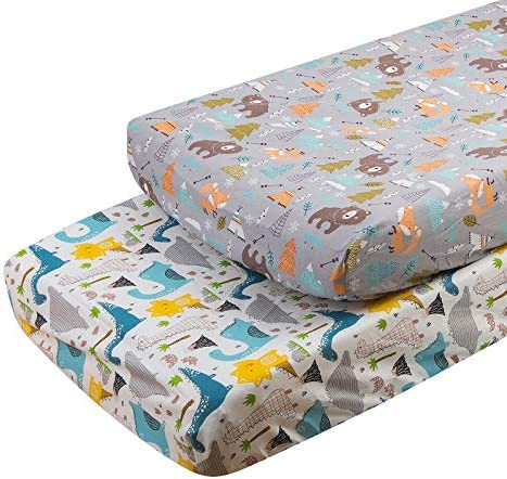 ALVABABY Changing Pad Covers 2pack 100 Organic Cotton Soft and Light Baby Cradle Mattress for product image