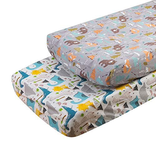ALVABABY Changing Pad Covers 2pack 100% Organic Cotton Soft and Light Baby Cradle Mattress for Boys and Girls 2TWCZ09