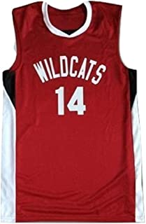 borizcustoms Zac E Troy Bolton 14 East High School Wildcats Red Basketball Jersey