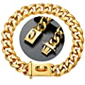 WJH Heavy Duty Choke Cuban Chain?19mm Width,18K Gold Dog Collar with Safety Lock,Strong Stainless Steel Metal Links Slip Chain Training Collar for Large Medium Dogs (Gold(Width:19mm), 22inch)
