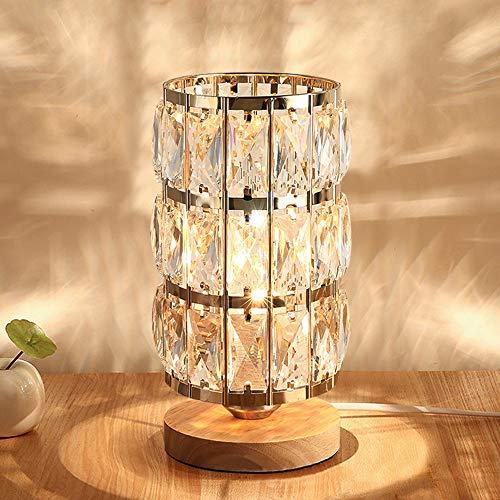 HHMTAKA Lámpara de mesa de cristal con base de madera, diseño moderno, lámpara de mesita de noche redonda decorativa perfecta para dormitorio, sala de estar, mesa de tocador, regalo ideal (dorado)