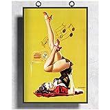 NFGGRF Retro Gil Elvgren Pinup Girl Cartel de Arte de Pared e Impresiones Arte Sala de Estar decorac...