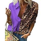 SLYZ Mujeres Otoño fósforo De Manga Larga Estampado Leopardo Camisa Suelta Camisa De Gasa Top Mujeres