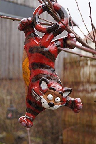 Keramik Katze hängend Gartendekoration Steinzeug Handarbeit Frostsicher