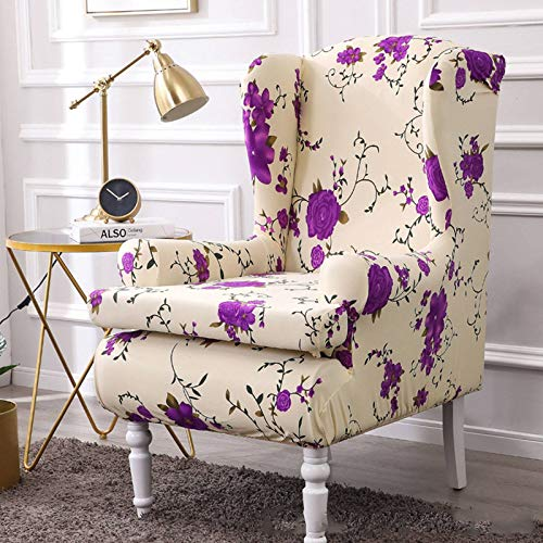 MO&SU Stretch Wing Chair Sofa Slipcover, Armrest Wingback Chair Sofa Cover 2 Piece Soft Polyester Non-Slip Furniture Protector -H