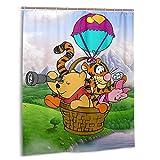 Cartoon Winnie The Pooh Duschvorhänge Badezimmerdekor Wasserdichter Badvorhang aus Polyestergewebe 60 x 72 Zoll mit 12 Kunststoffhaken