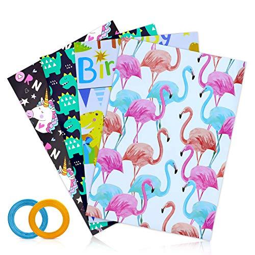 16 Bögen Geschenkpapier,Kinder Packungen Geschenkpapier mit 4 Verschiedene Designs für Geschenk Geburtstag Hochzeit Taufe Party und Kinder(70 x 50 cm)