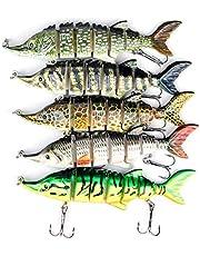 Uquelic 5 stuks Wobbler kunstaas visaas set, Swimbait Jerkbait Bass aas met 2 haken rubberen vissen voor snoek baars snoekbaars vissen