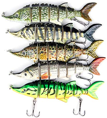 Jolicobo 5Pcs Señuelo Pesca Artificial Duro 11CM 16g Wobbler Flotante Multi-Segmentos Swimbait Siluros Bass Lubina Señuelo para Pesca Spinning con 2 Triángulo Ganchos