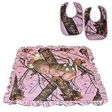 Mossy Oak Pink Camo Baby Blanket & Bibs 2Pk Newborn Babies Girls Gift Set