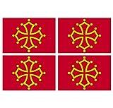 Supstick Lot de 4 Autocollants Stickers Drapeau de département région française occitanie Format 12x8cm