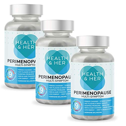 Health & Her Perimenopause Supplements for Women - 3 Month Supply of 60 Perimenopause Tablets - Support for Perimenopause Symptoms - Vegan - Gluten Free - Non-GMO