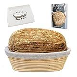 Banneton en Oval del Rustic Baker | Dim: 25*15*8 cm | La cesta para la fermentación de masa de pan | Panera en ratan natural | kit de panadería | lino para pan y raspador blanco incluido