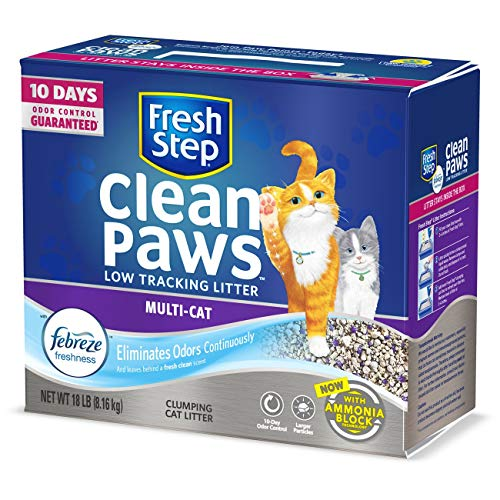 Fresh Step Clean Paws Multi-Cat Scented Litter with the Power of...