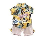 Camisa del Niño Ropa del Bebé Traje De Manga Corta De Los Cortocircuitos De La Impresión del Árbol De Coco 2 Piezas De 90 Cm Amarillas