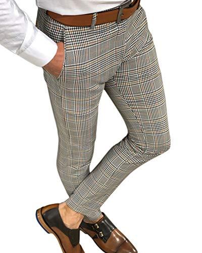 Onsoyours Jogginghose Herren Hose Cargo Chino Jeans Stretch Jogger Sporthose Slim-Fit Freizeithose Karierte Hose Straight Drawstring Sweatpants A Grau X-Large