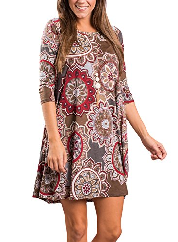Dearlovers Vintage Round Neck Casual Floral Shift Dress for Women Large Size Coffee