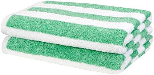Amazon Basics Cabana Stripe Beach Towel – Pack of 2, Green
