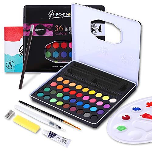Colmanda Set de Peinture Aquarelle, Boîte de Peinture Saquarelle Peinture Set Parfait Aquarelle Kit Adulte pour les Débutants et les Professionnels (Noir)
