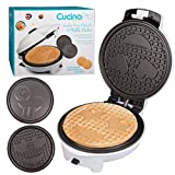 Emoji Waffler & Pancake Maker w 2 Interchangeable Plates for Pancakes or Waffles- 8' Electric Pan Cake Pan and Waffle Iron - Non-stick Electric Griddle