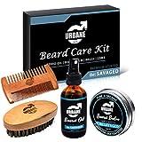 Urbane Men Beard Care Kit – Premium Scented Beard Grooming Set with Beard Oil, Beard Balm, Beard Brush & Comb – Natural and Organic Ingredients – Moisturising Beard Conditioner Gift Set (the: SAVAGED)