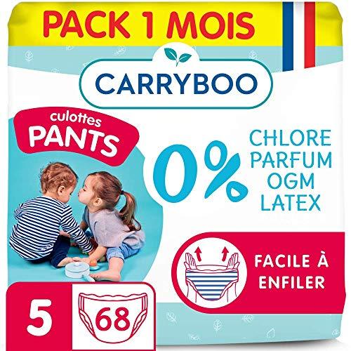 Carryboo - 68 Culottes d'Apprentissage Ecologiques Taille 5 (12 - 25kg) - Hypoallergéniques, Sans Parfum - Fabriquées en France - Pack 1 Mois