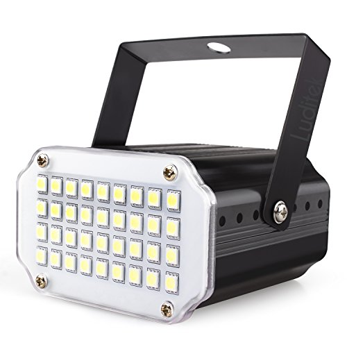 Mini Halloween White LED Strobe Light, Sound Activated and Flash Speed Control Party Light with 36 Super Bright Leds Stage Lighting for Room Dance Parties Birthday DJ Bar Karaoke Xmas Wedding Show