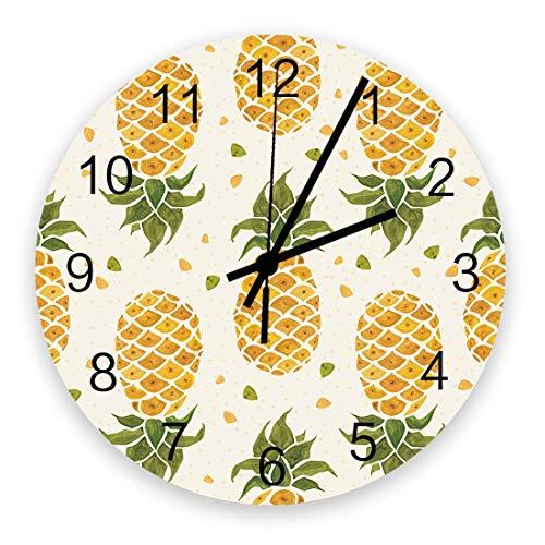 Reloj de Pared artístico para decoración de Sala de Estar, decoración de Verano, ilustración de piña en Acuarela, Relojes de Pared de Oficina Colgantes Elegantes y silenciosos Que Funcionan con Pilas