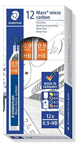 Graduación HB y resistentes a la rotura Adecuados para papel y cartulina Tamaño de línea de 0.9 mm Incluye 12 unidades