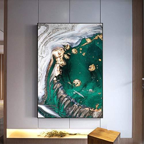 LLXXD Nordische Moderne Art abstrakt Gold Blatt Punkt grün Poster Kunst Leinwand Bilder für Wohnzimmer dekorative Malerei -60x80cm (kein Rahmen)