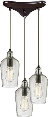 Elk Lighting 10331/3CLR Hammered Glass Collection 3 Light Chandelier, Oil Rubbed Bronze