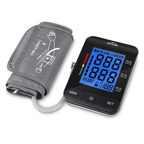 SIMBR Pulsioxímetro de Dedo con Pantalla LED Oxímetro de Pulso con Alarma y 2 Direcciones y Certificado por CE para Adultos y Niños (tensiometro azul)