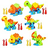 Dinosaur Toys Take Apart Toys with Tools (226 Pieces) - Pack of 6 Dinosaurs with 12 Tools, Construction Engineering Building Play Set for Boys Girls Toddlers, STEM Learning Kit for Kids Age 3+
