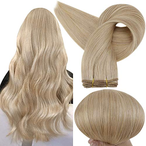 Full Shine Sew in Double Weft Bundle Human Hair 16 Inch Brazilian Straight Remy Hair Color 16 Golden Blonde and 22 Light Blonde Sew in Wefts Highlight Hair Weave in Extensions