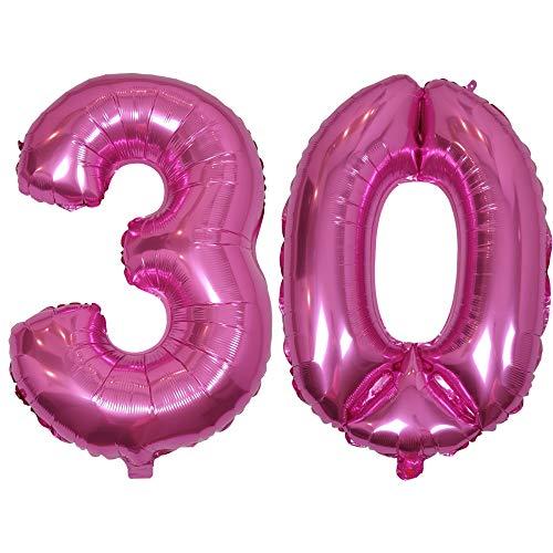 DIWULI, XL Zahlen-Ballons, Zahl 30, Pinke Luftballons, Zahlenluftballons pink, Folien-Luftballons Nummer Nr Jahre, Folien-Ballons 30. Geburtstag, Hochzeit, Party, Dekoration, Geschenk-Deko